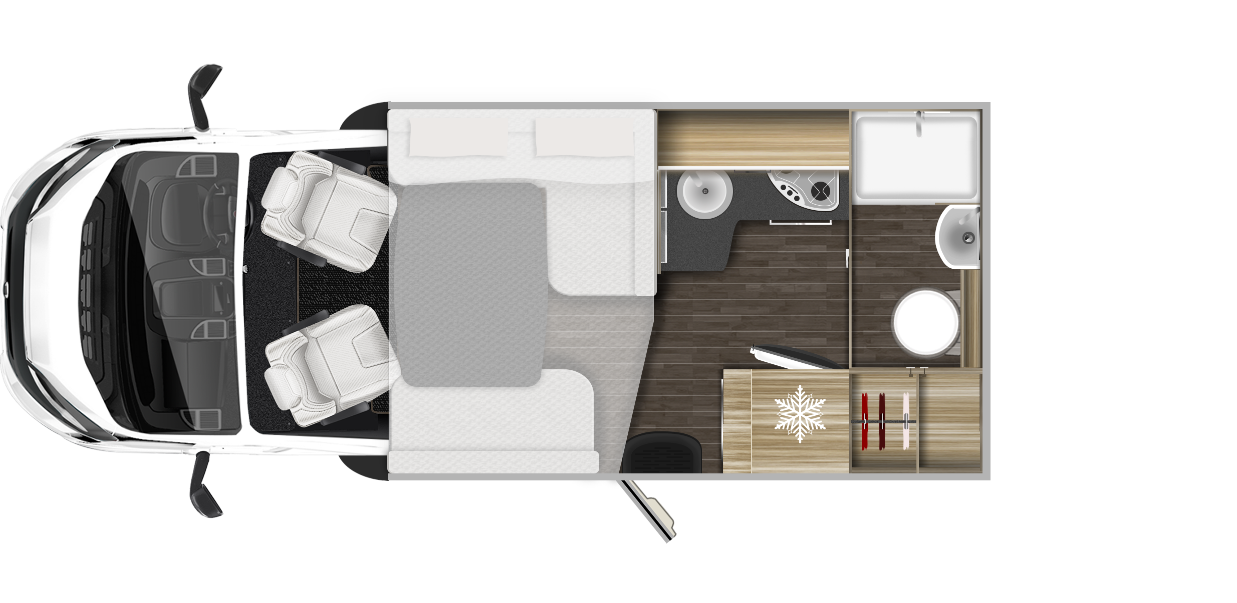 2020 Roller Team T-Line 590 (Automatic) New Motorhome layout